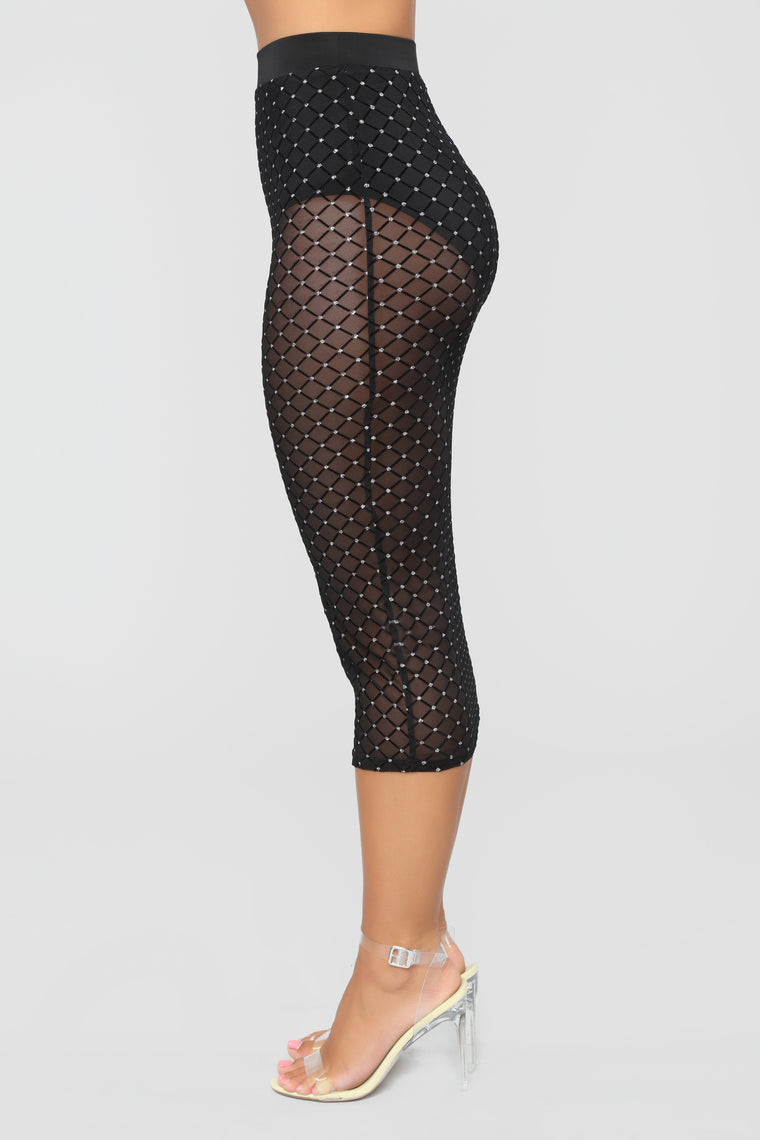 Beatrix Mesh Skirt - Black/Silver