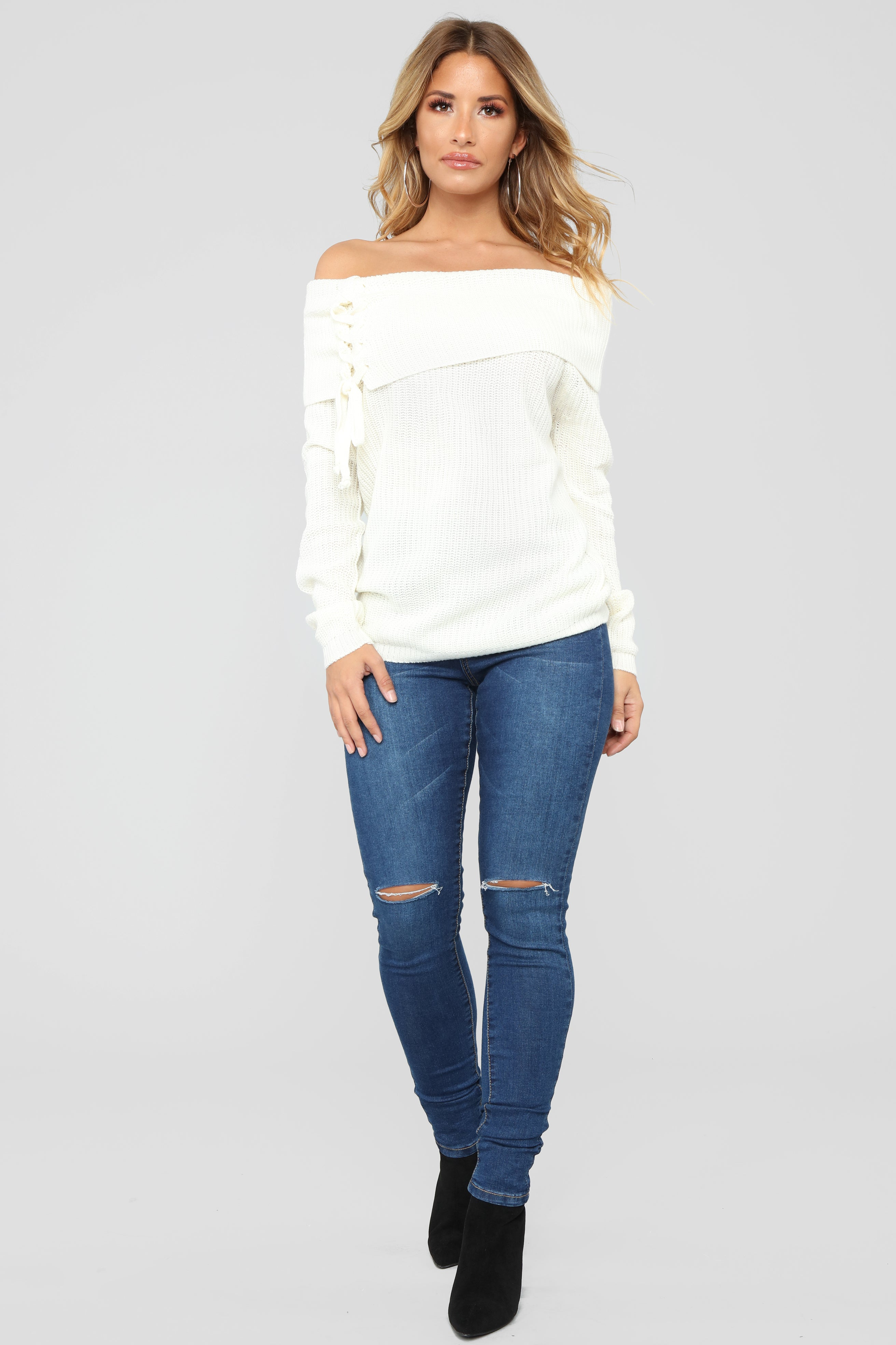 Tie Me Down Off Shoulder Sweater Ivory