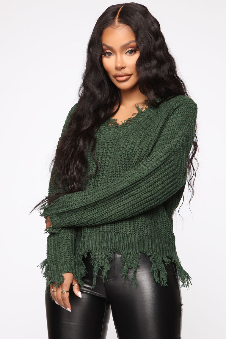 Always Distressing Me Out Sweater   Green by Fashion Nova