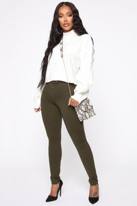 Unrivaled And On Top Ponte Pants - Olive