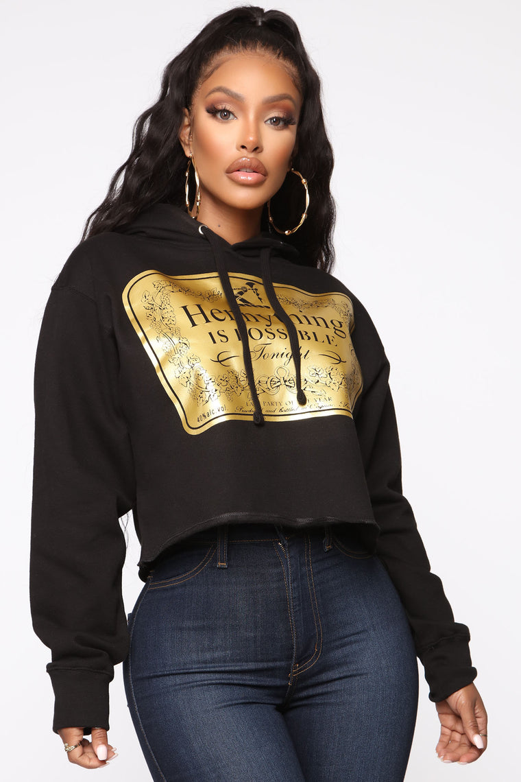 Hennything is Possible Cropped Hoodie - Black