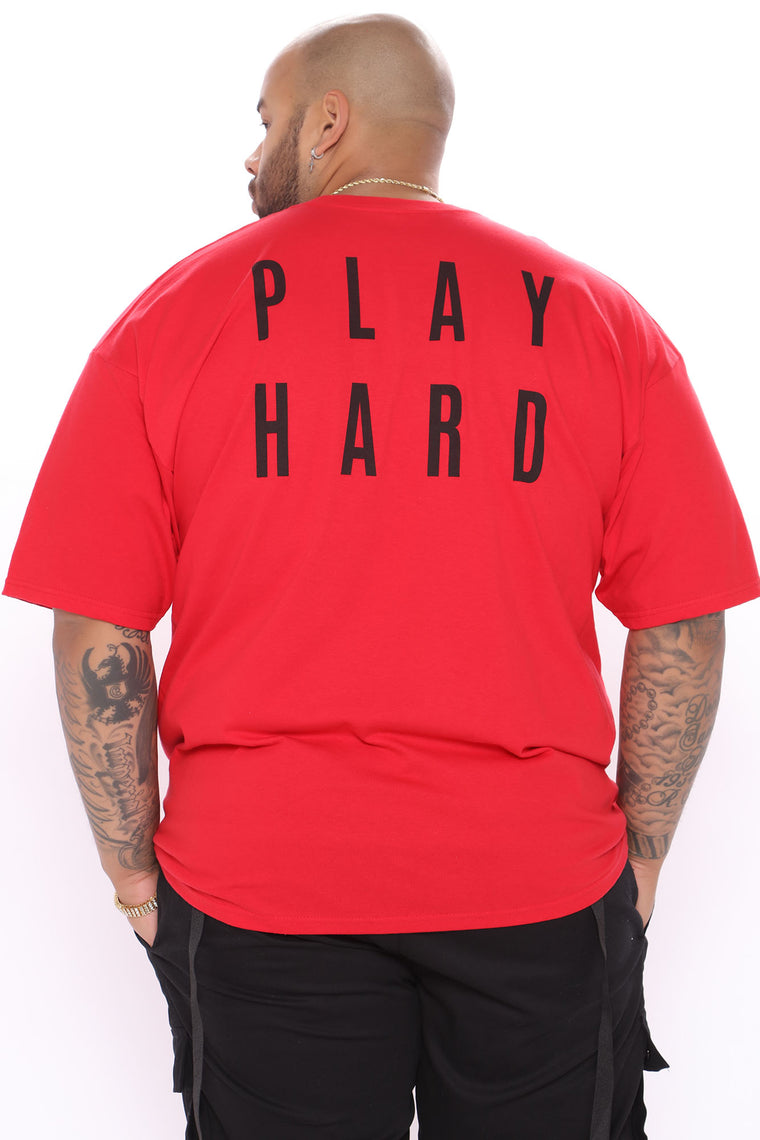 Work Hard Play Hard Short Sleeve Tee - Red