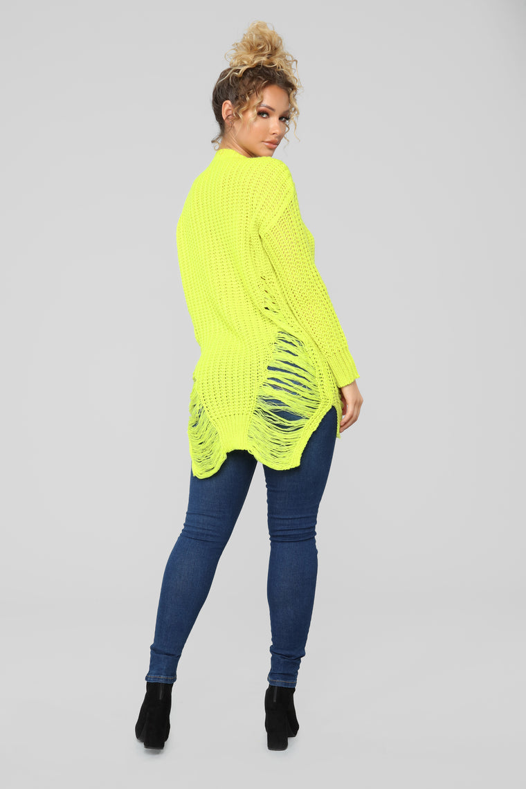 Unraveled Sweater - Neon Yellow