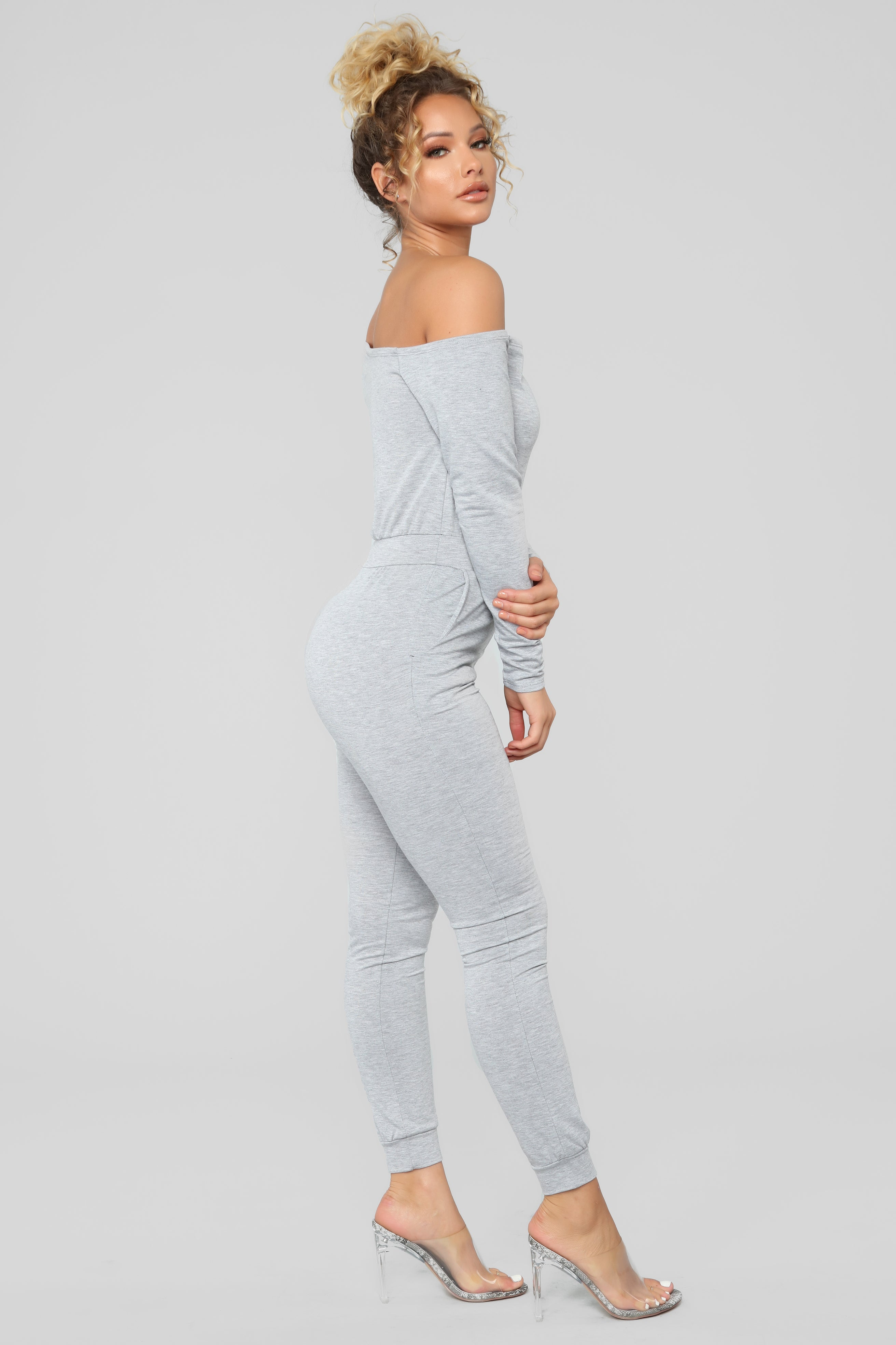 29b9986bb6fa Let s Stay In Lounge Jumpsuit - Grey