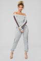 Track Queen Off The Shoulder Set - Grey