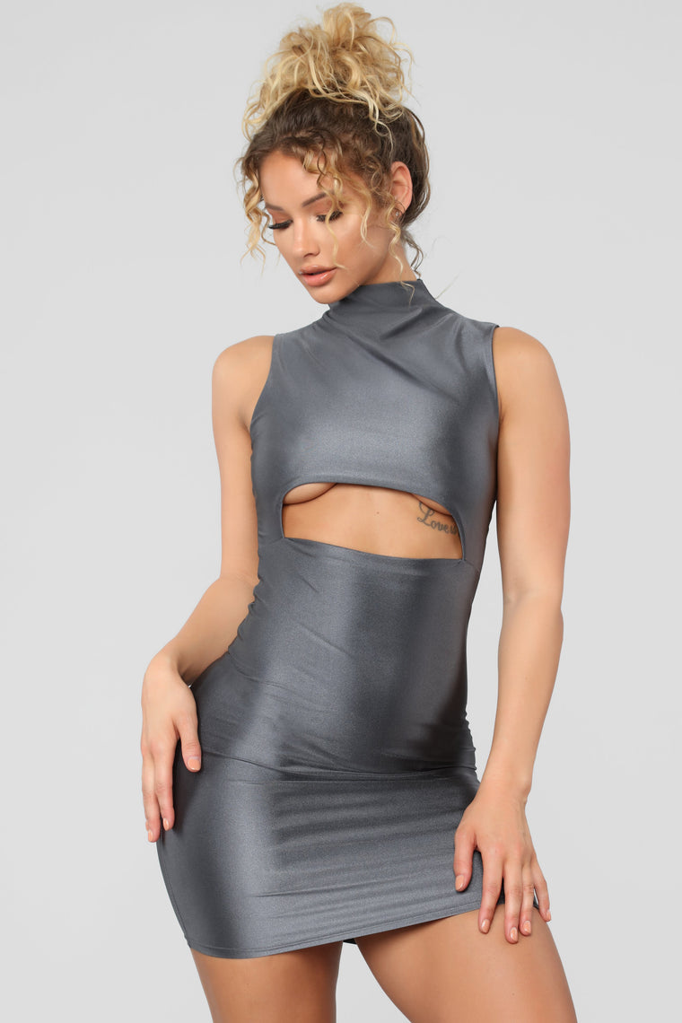 A Cut Above The Rest Mini Dress - Charcoal