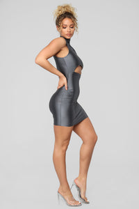 A Cut Above The Rest Mini Dress - Charcoal Angle 3
