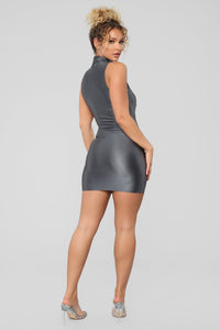 A Cut Above The Rest Mini Dress - Charcoal Angle 4