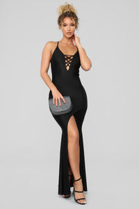 Azariah Lace Up Maxi Dress - Black