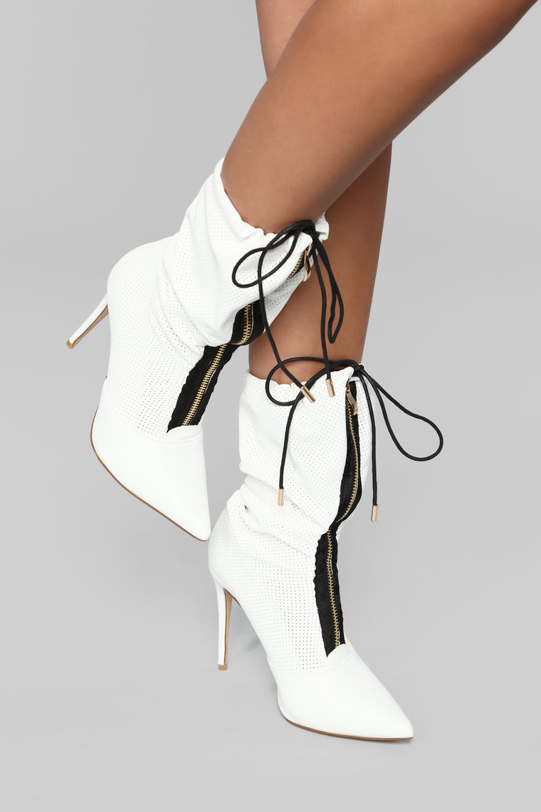 Zip Along Heeled Boot - White