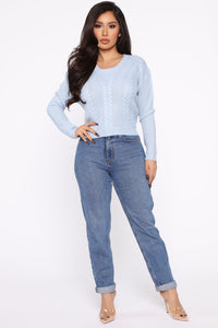 Your Favorite Lace-Up Sweater - Blue