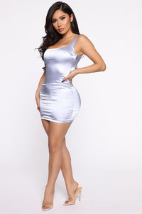 Back For More Satin Mini Dress - Ice Blue Angle 4