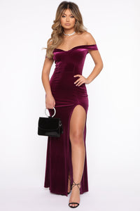 Don't Be Sleazy Velvet Maxi Dress - Eggplant Angle 1