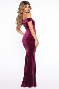 Don't Be Sleazy Velvet Maxi Dress - Eggplant Angle 4