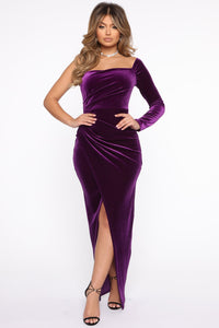 That Special Something Velvet Maxi Dress - Purple Angle 1