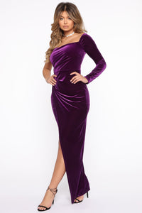 That Special Something Velvet Maxi Dress - Purple Angle 3