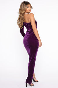 That Special Something Velvet Maxi Dress - Purple Angle 4