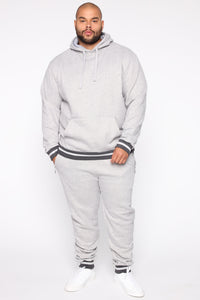 Simple Striped Hem Hoodie - Heather Grey Angle 6