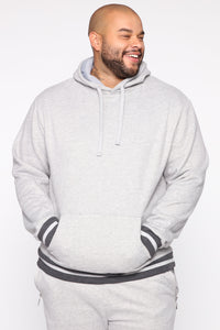 Simple Striped Hem Hoodie - Heather Grey Angle 8