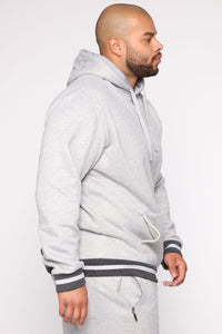 Simple Striped Hem Hoodie - Heather Grey Angle 9