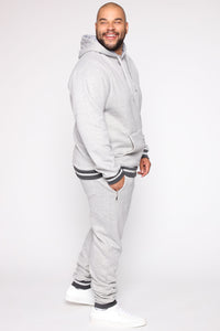 Simple Striped Hem Hoodie - Heather Grey Angle 10