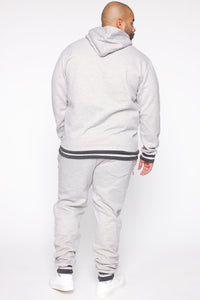 Simple Striped Hem Hoodie - Heather Grey Angle 11