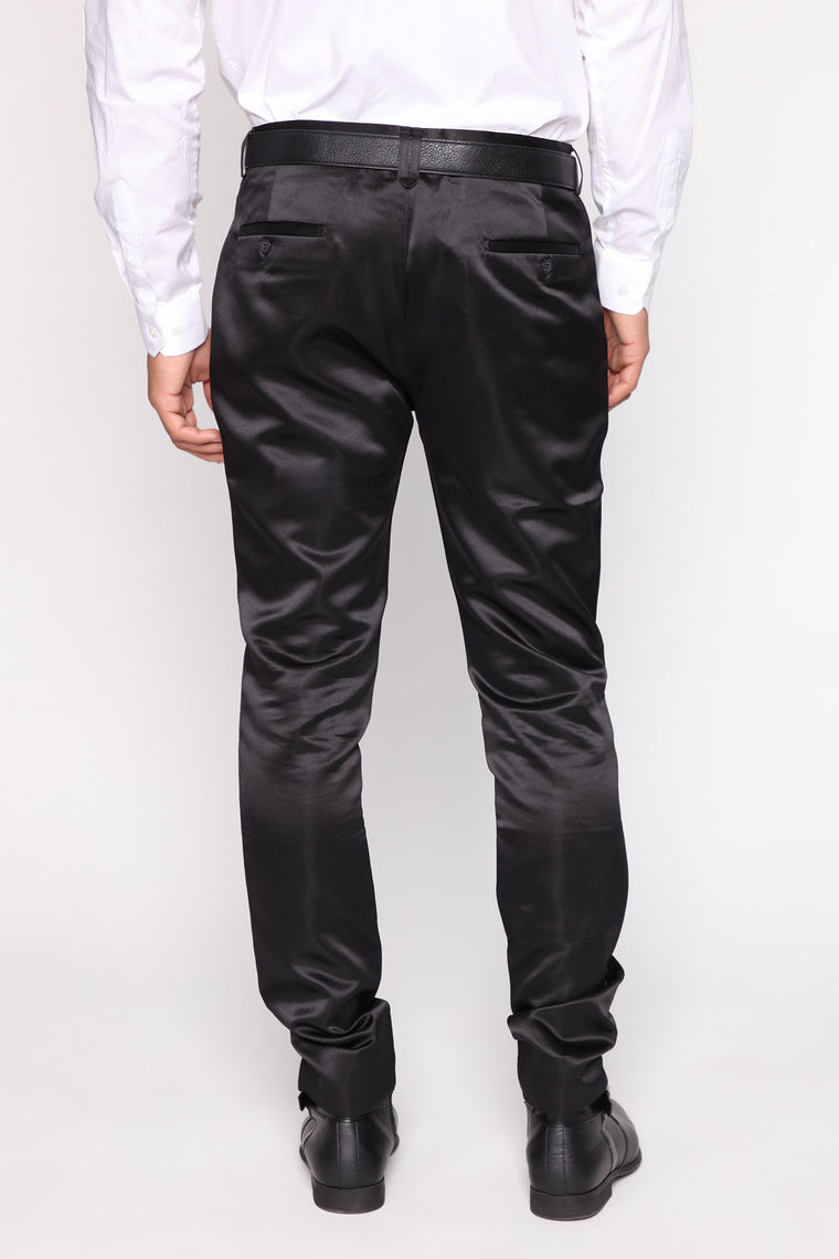 Noah Satin Solid Trouser Pant - Black