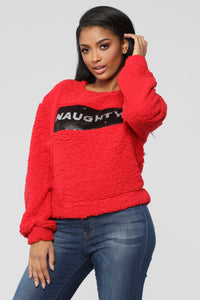 On The Naughty List Top - Red