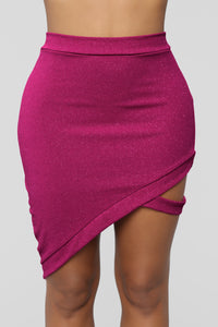 Paparazzi Flashes Glitter Skirt Set - Hot Pink
