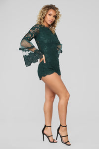 Dahlia Lace Romper - Hunter Green