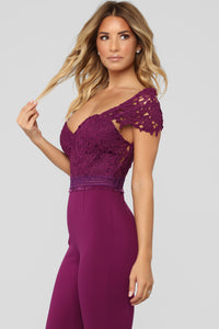 Captivate Me Jumpsuit - Plum