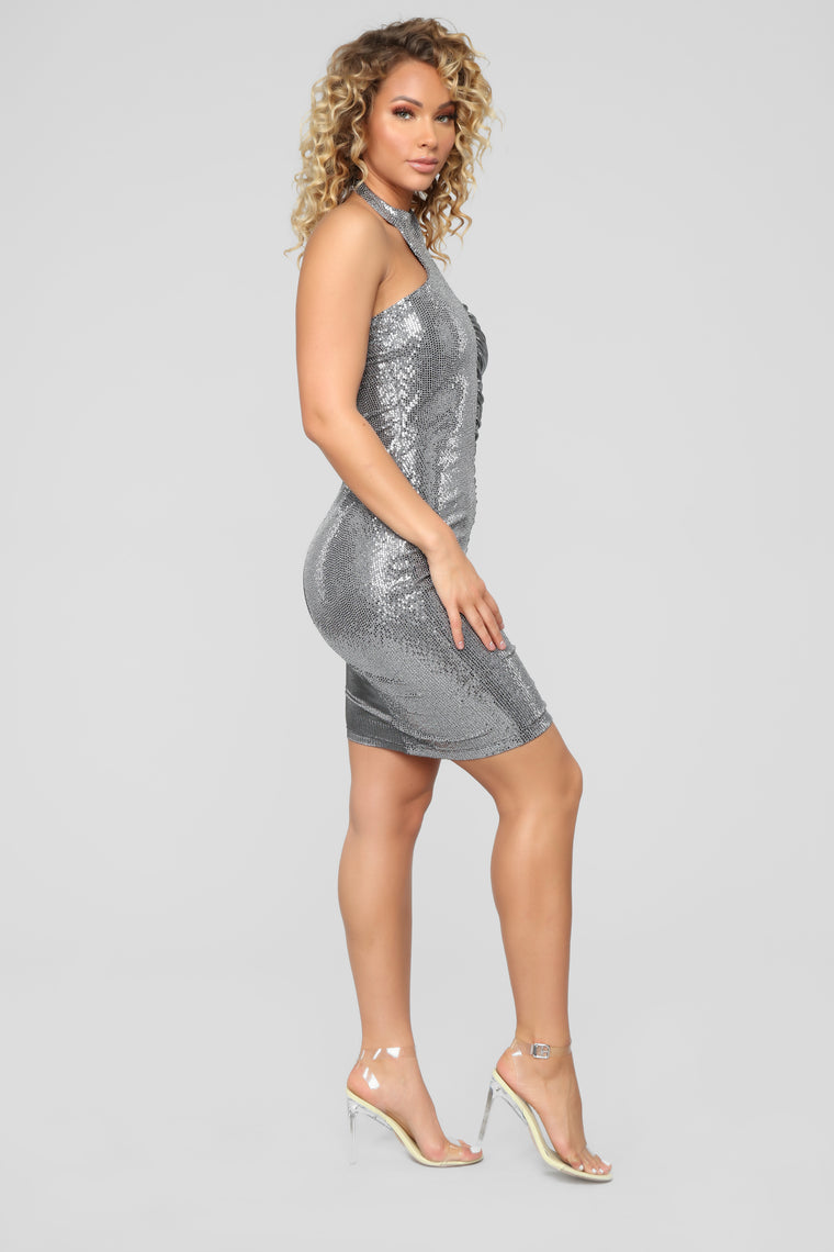 Can't Look Away Sequin Dress - Silver
