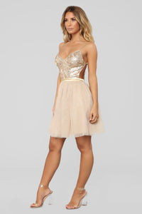 Naila Sequin Tulle Dress - Gold