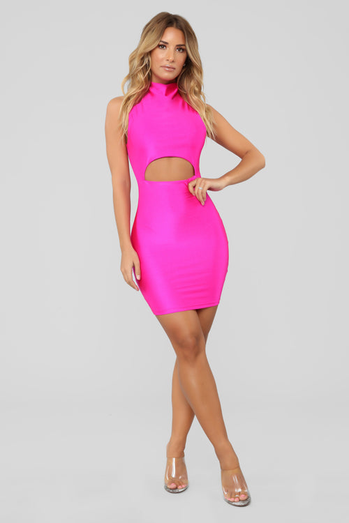 A Cut Above The Rest Mini Dress - Neon Pink