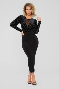 Decked In Diamonds Bodysuit - Black