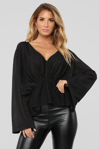 Hello Darling Long Sleeve Top - Black Angle 1