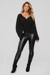 Hello Darling Long Sleeve Top - Black Angle 2