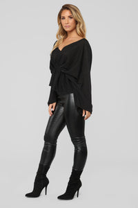 Hello Darling Long Sleeve Top - Black Angle 3