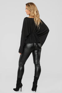 Hello Darling Long Sleeve Top - Black Angle 4