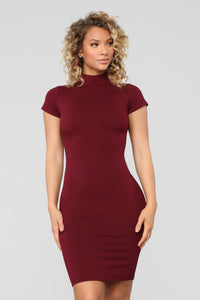 Kara Mock Neck Mini Dress - Burgundy