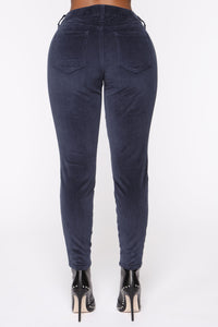 I'm Down Low Rise Corduroy Pants - Navy