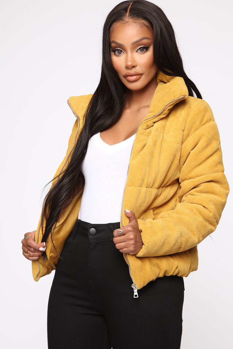 Jaiden Corduroy Puffer Jacket   Mustard by Fashion Nova