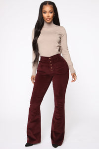 Take Me Out Corduroy Flare Pants - Burgundy Angle 3
