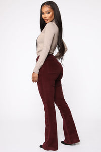 Take Me Out Corduroy Flare Pants - Burgundy Angle 5