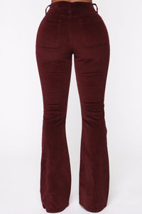 Take Me Out Corduroy Flare Pants - Burgundy Angle 6