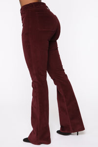 Take Me Out Corduroy Flare Pants - Burgundy Angle 4