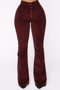 Take Me Out Corduroy Flare Pants - Burgundy Angle 2