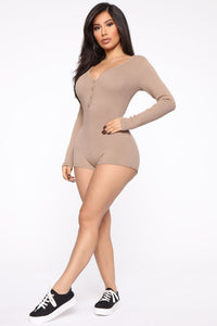 All Nighter Ribbed Romper - Taupe Angle 4