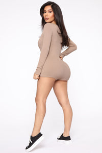 All Nighter Ribbed Romper - Taupe Angle 5