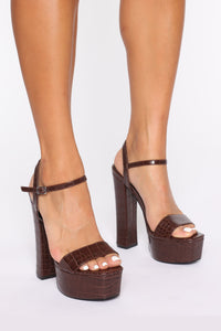 Walk Into This Heeled Sandals - Brown Angle 1